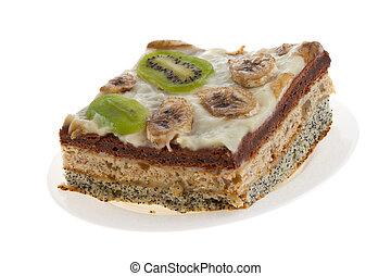 Cake with kiwi and banana - Pie with kiwi and banana on...
