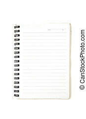 an opened blank ribbed notebook isolated on white background