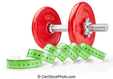 Dumbbell for fitness and sport with a measuring meter on a white background. Close-up.