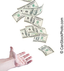 The hand want to catch falling money, isolated on white...