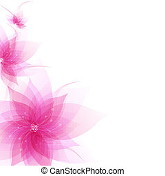 Banner With Abstract Flowers With Gradient Mesh, Vector...