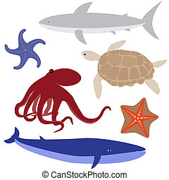Cartoon sea life set - Set 4 of sea life: octopus, shark,...