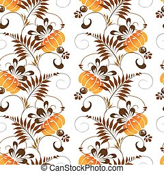 seamless pattern of orange flowers - Beautiful seamless...