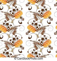 seamless pattern of orange flowers - Beautiful seamless...