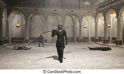 The Practice Session - Fantasy style spearman in black...
