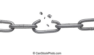 broken metal chain link - close up of a broken chain on...