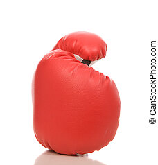 red boxing glove - one red boxing glove on a white...