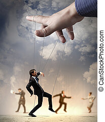Business people marionette - Businesspeople marionette on...