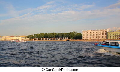 Neva river in St. Petersburg Russia - shooting from boat