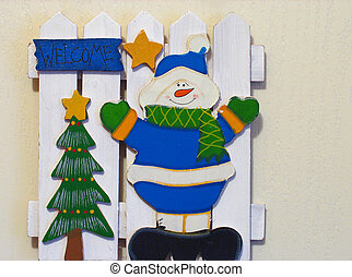 Welcome Snowman - Snowman with a Christmas tree and star...