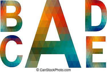 Mosaic alphabet letters A, B, C, D, E