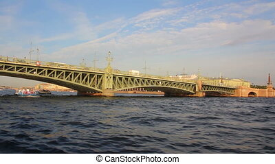 Trinity Bridge on Neva river in St. Petersburg Russia - shooting from boat