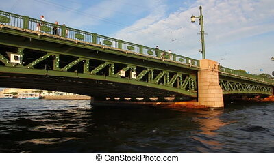 Palace bridge on Neva river in St. Petersburg Russia -...