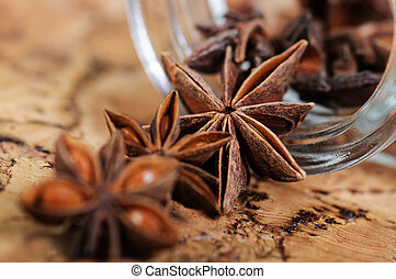 star anise on the table