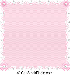 white lace background and pearls - Wedding card with white...