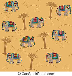 indian pattern with elephant