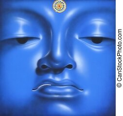 Buddha - The face of a Buddha in blue