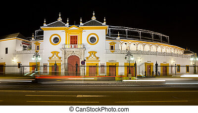 Bullfight arena - La Maestranza bullfight arena night view...