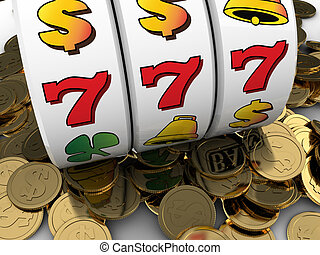 jackpot - 3d illustration of jackpot with golden coins