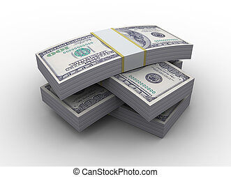 money stack - 3d illustration of dollars stack over white...