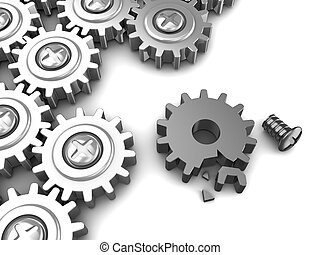 broken gear wheel - 3d illustration of gear wheels mechanism...