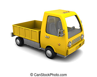 empty truck - 3d illustration of yellow truck empry, over...