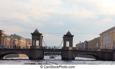 Lomonosov Bridge on Fontanka river in St. Petersburg Russia - shooting from boat