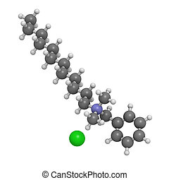 Benzalkonium chloride biocide, molecular model. Atoms are...