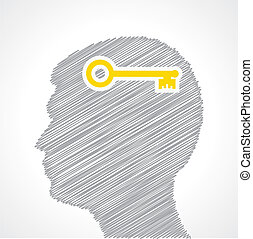 Hand drawn man's face with key