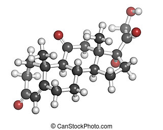 cortisone stress hormone, molecular model. Atoms are...
