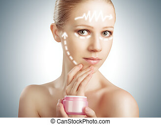 concept skincare. Skin of beauty young woman with facelift, plastic surgery, arrows with  rejuvenation cream