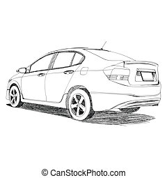 Sport car - Hand Drawn - The Abstract of Sport car - Hand...