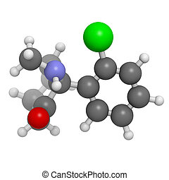 Ketamine anaesthetic drug, molecular model. Atoms are...