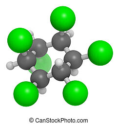 Lindane pesticide, molecular model Atoms are represented as...