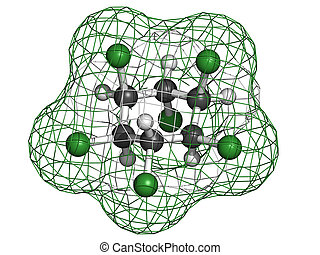 Lindane pesticide, molecular model. Atoms are represented as...