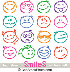hand drawn smiles - set of hand drawn smiles on white...