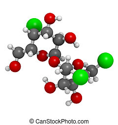 Sucralose artificial sweetener, molecular model Atoms are...