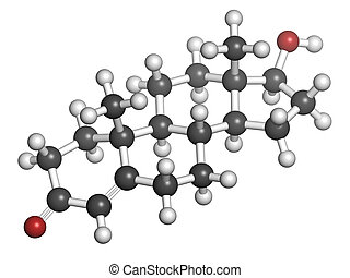 Testosterone male sex hormone, molecular model. Atoms are...