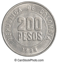 200 Colombian pesos coin isolated on white background