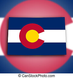 Map of Colorado, filled with the state flag