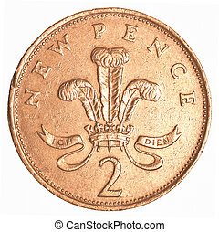 2 british pennies coin isolated on white background