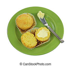 Corn Muffins Split Whole Butter Knife - Looking down at a...
