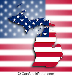 Map of Michigan, filled with the national flag