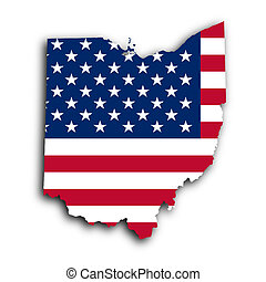 Map of Ohio, filled with the national flag