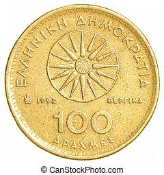 Grego,  100, moeda, antigas, Dracmas