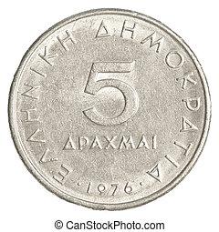 5, antigas, Grego, Dracmas, moeda