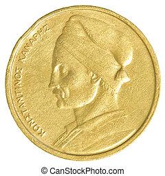 Grego, dracma, antigas, moeda, um