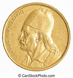 2, antigas, Grego, Dracmas, moeda