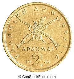 Grego,  2, antigas, moeda, Dracmas