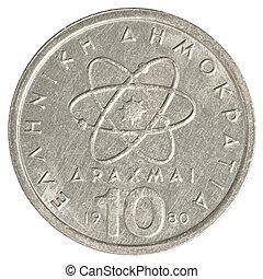 Grego,  10, moeda, antigas, Dracmas